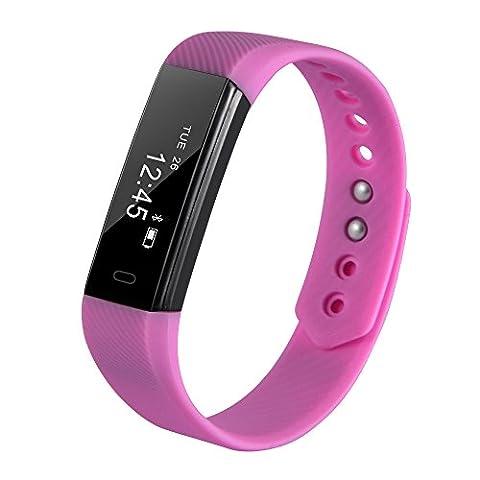 XCSOURCE Fitness Tracker Smart Bracelet Etanche Tracker d'activité OLED Intelligent Bluetooth wristband Montre Sport Calorie Montre Calories Dépensées Sommeil Smartwatch ArmBand Rose AC658