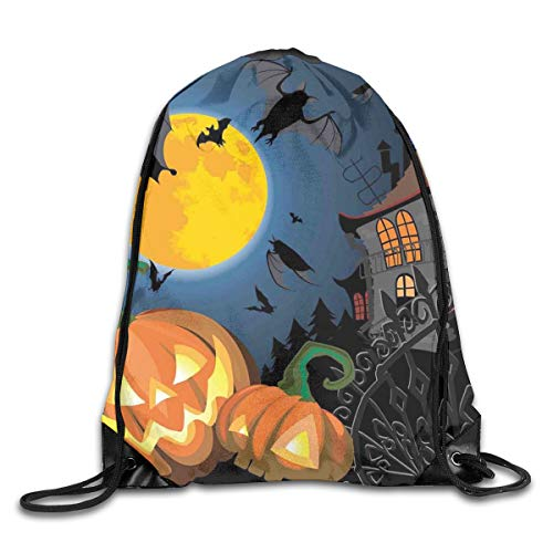 EELKKO Drawstring Backpack Gym Bags Storage Backpack, Gothic Halloween Haunted House Party Theme Design Trick Or Treat Motifs Print,Deluxe Bundle Backpack Outdoor Sports Portable Daypack (Ideen Tricks, Für Halloween)