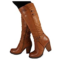 Loud Look Womens Ladies Mid Calf Zip Fashion Studs Riding High Block Heel Boots Shoes Size 3-8 (4, TAN)