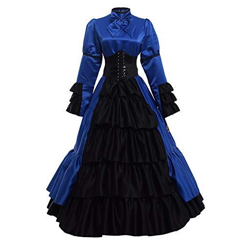 2e6b87883d424 GRACEART Women Medieval Victorian Costume Vintage Ruffles Fancy Dress with  Crinoline and Belt (L, Blue)