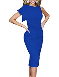 Mujer Elegantes Sin Mangas Flounced Retro Lápiz Midi Vestidos De Fiesta Boda Cóctel Cortos Tamaño Grande Azul…