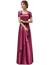 6d6f336432 Drasawee Women s Short Sleeve Satin Prom Bridesmaid Party Dresses Sweet  Flower Long Formal Evening Gowns