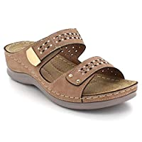 AARZ LONDON Women Ladies Open Toe Cushioned Lightweight Everyday Casual Comfort Summer Khaki Sandal Shoes Size UK 4 EU 37