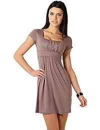 FUTURO FASHION Élégant Femmes Mini Robe Empire Manche Courte Carré Col 8944 10f3e7913641