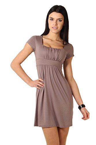 Futuro Fashion Elegant femmes Mini robe taille Empire et col 8944 Sqare à manches courtes Marron - Cappuccino