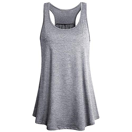 KOKOUK Women's Sports Vest Tops, Summer Sleeveless Yoga Sports Tank,Flowy Cotton Blouse Tee T-Shirt for/Daily/Party/Daily/Beach,S-XL -