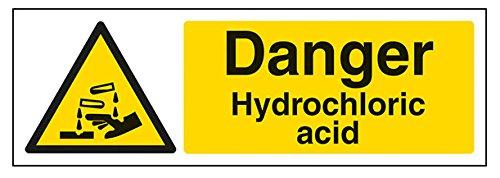 vsafety 6a077ax-r pericolo Segnale di avvertimento sostanza e chimica Acido Cloridrico, in plastica rigida, paesaggio, 300mm x 100mm, colore: nero/giallo