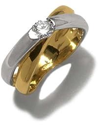 Gioie Bague Femme en Or 18 carats Blanc/Jaune avec Zircon Blanc, Ligne Mariage