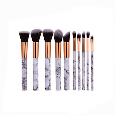 RY@ Beauty Cosmetic Professional Powder Foundation Makeup Full Marble Patterns Makeup Brush Set 10 Pcs Kit