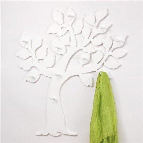 Porte-manteaux mural en forme d'arbre, en panneau MDF, Blanc