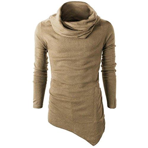 Tefamore Pour des hommes Slim Fit Turtleneck Manche longue Tee musculaire T-shirt décontracté (XL, Jaune)