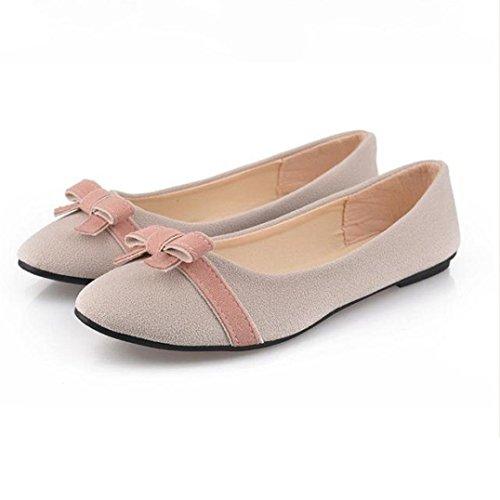 Koly_Donna Primavera bowknot singolo scarpe basse tempo libero Dolce Tesoro Studenti Shoes Beige