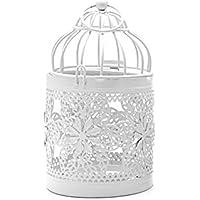 GROOMY Portavelas Hueco Candelabro Tealight Colgante Linterna Jaula de pájaros Vintage Forjado Ornamento Regalo - A