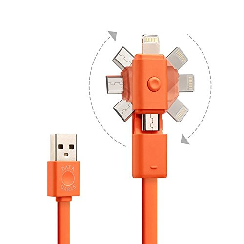 Blitzkabel 2 in 1 Rotation 8-polig Lightning + Android Micro USB Schnell Ladegerät Schnur für Apple iPhone 5 5C 5S 6 6S Plus iPod iPad Air Mini Samsung S6 S7 Edge S5 S4 S3 Hinweis 3 4 5 LG (Orange) (Ihome-lightning-dock-adapter)