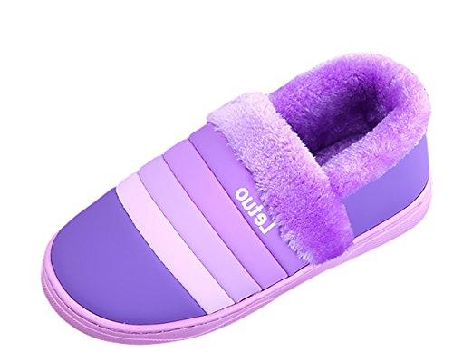 Icegrey Unisexe Hiver Chaussons Chaud Pantoufles Antidérapants Intérieur Chaussures Maison Slippers Pourpre