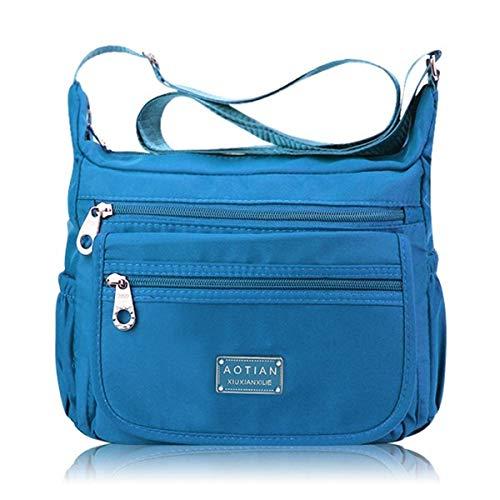 Hulday Nylon Bote Tasche Frauen Casual Multi Tasche Nylon Wasserdichter Schultertasche Einfacher Stil Umhängetaschen Handtasche Blau, (Color : Hellblau, Size : One Size) -