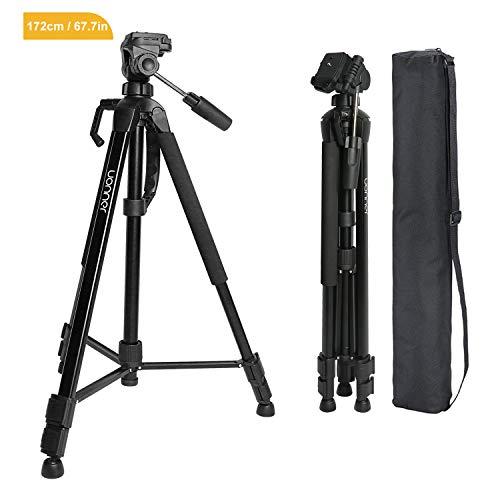 Kamera Stativ Tripod 172cm 67.7 Zoll Aluminum Reisestativ Kompakt 360° Panorama Fotostativ Uonner für Smartphone DSLR SLR Canon Nikon Sony mit Tragetasche