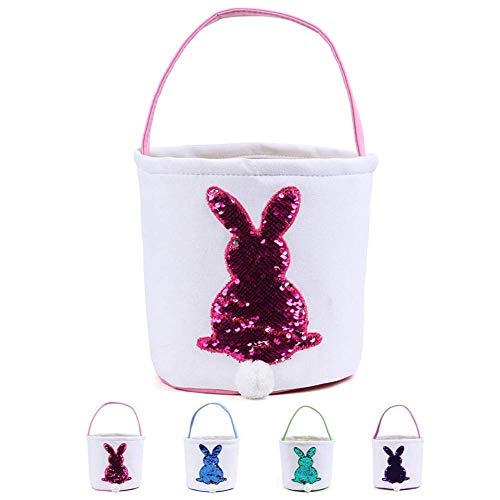 H.Yue Easter Bunny Bags for Kids - Cloth Easter Eggs Basket with Reversible Sequins and Fuzzy Rabbit Tail for Parties DIY Gift (Pink)