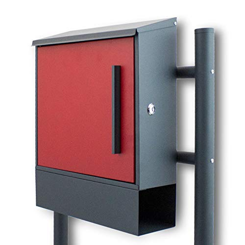 BITUXX® Freistehender Standbriefkasten Briefkastenanlage Seitenschloss und Zeitungsfach unten Dunkelgrau/Rot