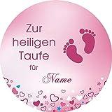 Tortenaufleger Taufe2 rosa Wunschtext / 20 cm Ø/Lieferung 2 bis 5 Werktage