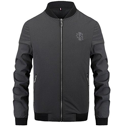 Brinny Frühling und Herbst Herren Bomberjacke Freizeitjacke Stehkragen Zipper Baseball Uniform Übergangsjacke Einfarbig Jacken Coat Grau