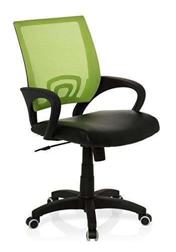 hjh OFFICE 650445 Konferenzstuhl Freischwinger VISTO NET Netzstoff Kunstleder grün, komfortabler...