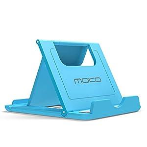 MoKo Multi-angoli Portatile Pieghevole Supporto per Smartphone, Tablet (6-8 pollici) e E-reader, adatto a iPhone 7 / iPhone 8 / X / 7 plus / 6s, 6s Plus, Galaxy S7 / S7 edge, Huawei P9 / P8, iPad Mini 4, Blu