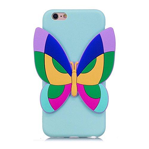 iPhone 6S Custodia, case Paraurti dassorbimento con TPU Back-Anti-Scratch Cover ( 3D Cartoon Gufo + rosa ) iPhone 6/6s Copertura Shell 4.7 blu 4