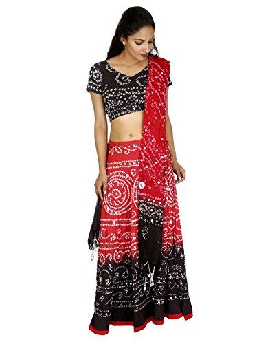 Damen sportlich Pailletten Arbeit Baumwolle Cambric Ethnic Red Long Lehenga Choli von (Hippie Kostüme Inspirierte)