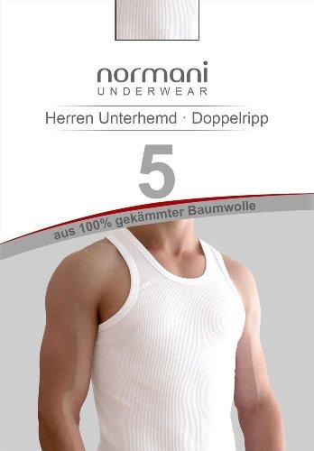 5 x Tank Top weiß - Herren Unterhemd Doppelripp (gerippt) - Achselshirt - Muskelshirt - original normani® Doppelripp Weiß
