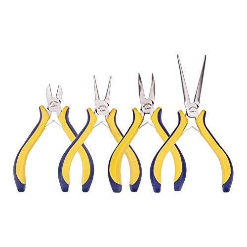 BENECREAT 4-teilige Schmuck Zange Set mit Comfort Rubber Grip fur Schmuckherstellung, Handwerk Making - Spitzzange/Rundnase/Bent Nase/Side Cutting Pliers