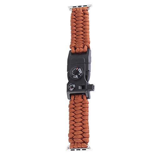 YouN Nylon Uhrenarmband Regenschirm Seil Armband für iWatch 1 2 3 (Braun 42mm)