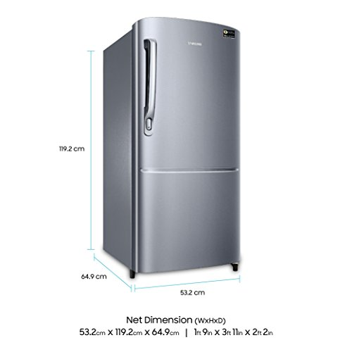 Samsung 192 L 3 Star Direct Cool Single Door Refrigerator (RR20M172ZS8/RR20M272ZS8 , Elegant Inox, Inverter Compressor)