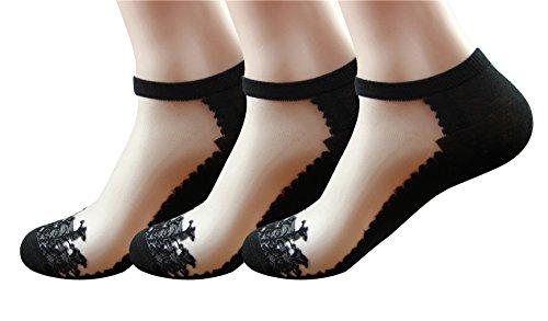 Elastische Damen Socken (Damen Sommer Dünn Transparent Kristall Spitze Elastisch Kurze Socken 3 Pack (#3B))