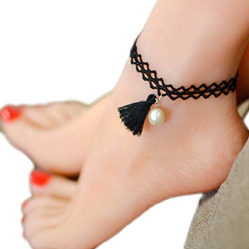 Spitzen Fußkettchen (ICHQ Einfacher Stil Weiss Perle Anhänger Sommer Strand FußSchmuck Frau Schwarz Spitze Fußkette Ketten (A))