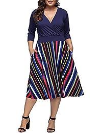 Lover-Beauty Women's Plus Size Dresses Casual Midi Deep V Cross Neck High Waist A-Line Dress
