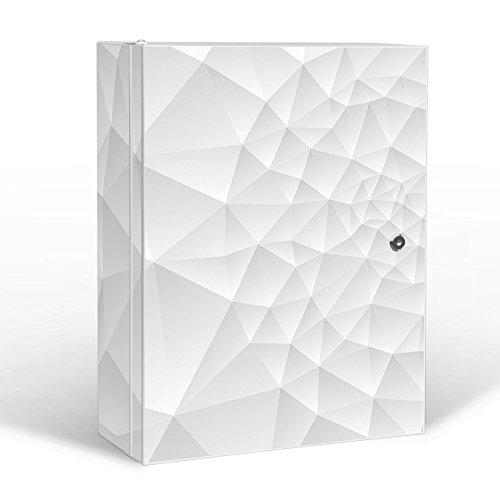 banjado Medizinschrank groß Abschließbar | Arzneischrank 35x46x15cm | Medikamentenschrank aus Metall Weiß mit Motiv Nautilus