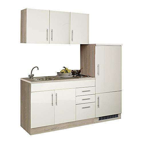Lomadox Küchenzeile 180 cm Küchenblock Einbauküche Creme Hochglanz Küche