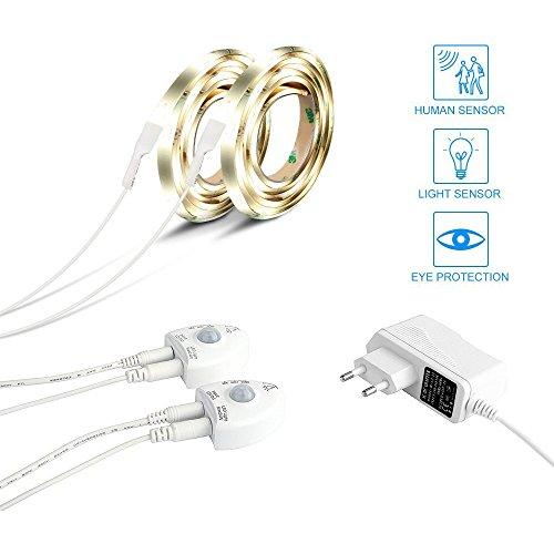 Amagle Bett Licht, LED-Streifen Licht, Bewegungsaktivierte 1.2M Flexible LED Streifenlicht Auto Ein/Aus Bewegungsmelder mit Helligkeitsjustage (zwei - Auto Betten