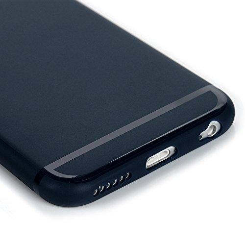 """Mavis's Diary Coque iPhone 6 / iPhone 6S 4.7"""" Étui de Protection TPU Silicone Housse Souple Transparent Phone Case Cover Découpe du Logo Violet + Chiffon Bleu Foncé"""