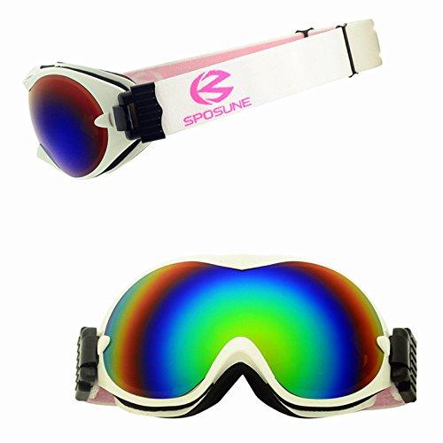 Yiph-Sunglass Sonnenbrillen Mode Neue skibrillen Bunte schutzbrillen Professionelle männer und Frauen Erwachsenen Schnee blind doppel Anti-Fog antisand (Color : White)