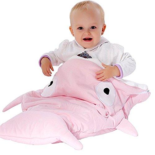 Scheppend neonati bambini squalo soffice sacco a pelo per passeggino,92x62cm (rosa)