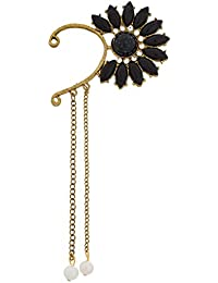 The Luxor Gold Plated Designer Black Beads Studded Trendy Look Ear-Cuff For Women(ER-1503)