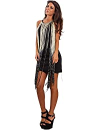 89771ac7252e Toocool - Vestito donna corto mini abito frange lurex elegante aderente sexy  GI-3367