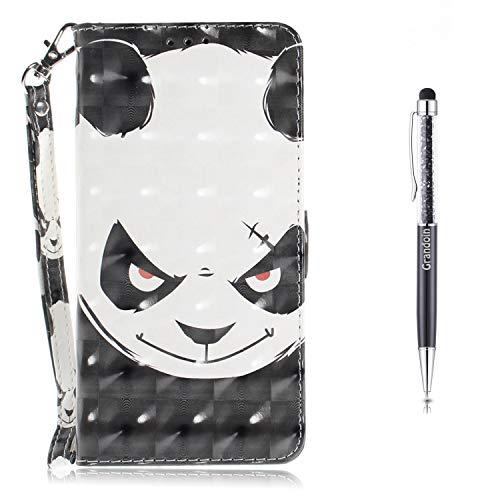 Grandoin Huawei Y6 2018 Hülle,Honor 7A Hülle, Handyhülle im Brieftasche-Stil für Huawei Y6 2018 / Honor 7A Handytasche PU Leder Flip Cover 3D Bunte Muster Schutzhülle Etui Case (Wütender Bär)