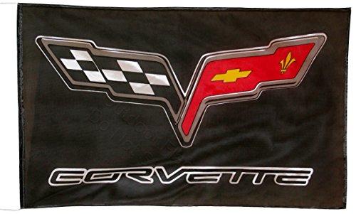 chevrolet-corvette-c6-schwarz-fahne-flagge-5x3-ft-150-x-90-cm