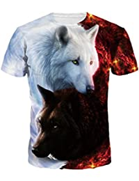 Camiseta 3d Hombre, Dotbuy Unisex 3D Digital Impreso Personalizado Manga Corta Camisetas Tees Tops Playa de Verano de Manga Corta (Tai Chi Wolf, M)