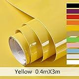 Hode Papier Adhesif pour Meuble,Cuisine,Porte,Mur, Stickers Meuble 40cmX300cm,Vinyle,Autocollants Meuble,Jaune