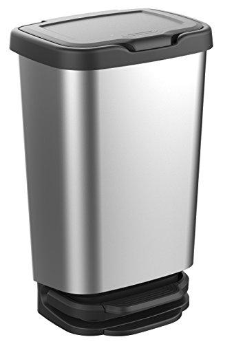 Mondex Designer Tret-Abfalleimer JIVE 40 Liter Inhalt silber
