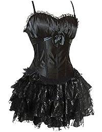 Kranchungel Womens Swan Padded Satin Corset Burlesque Petticoat TuTu Skirt Costumes Set Corsetto Bustino